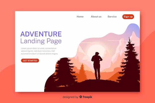 Página de destino de aventura com floresta