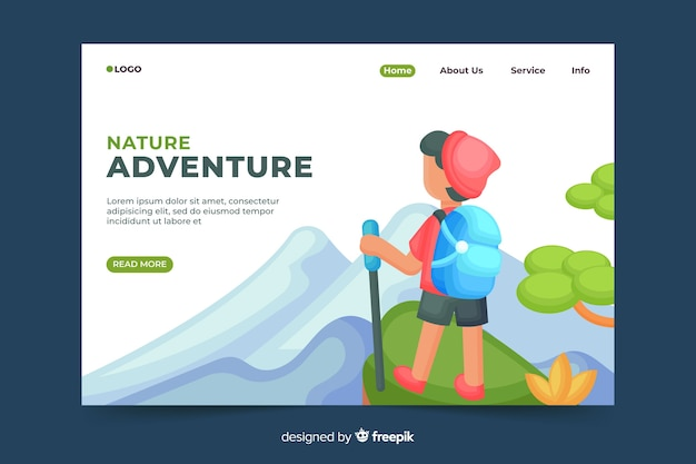 Página de destino de aventura na natureza
