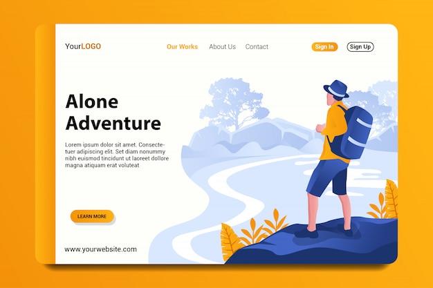 Página de destino de aventura sozinho