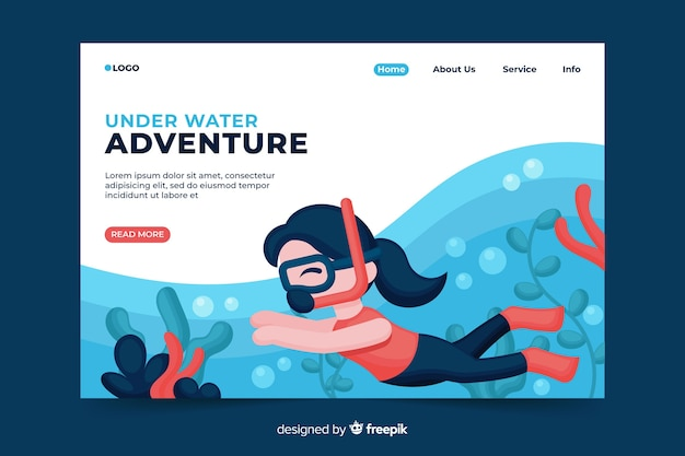 Página de destino de aventura subaquática
