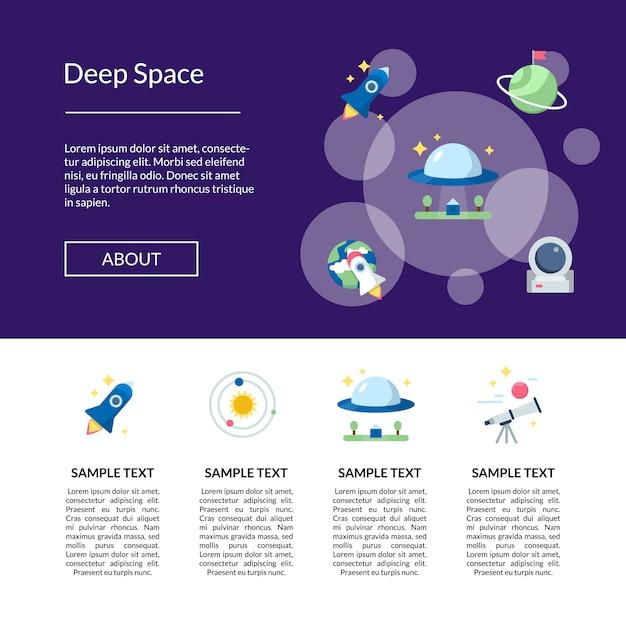 Página de destino de banner de ícones de espaço plano