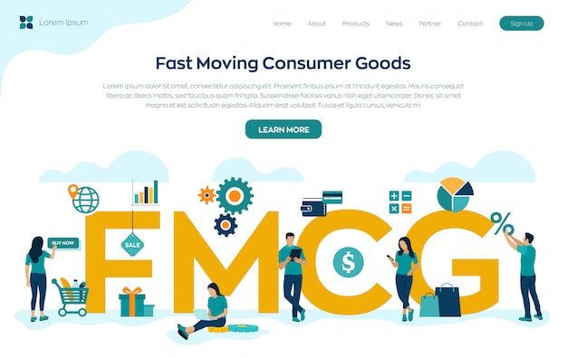 Página de destino de bens de consumo em movimento rápido