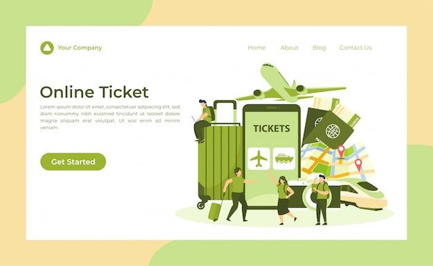 Página de destino de bilhetes online