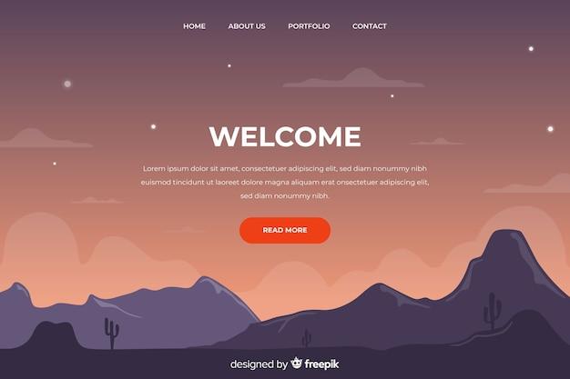 Página de destino de boas-vindas com montanhas