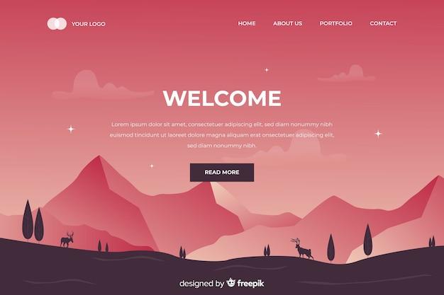 Página de destino de boas-vindas com paisagem