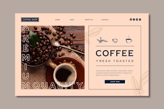 Página de destino de café de qualidade premium