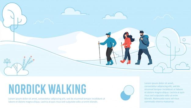 Página de destino de caminhada nórdica