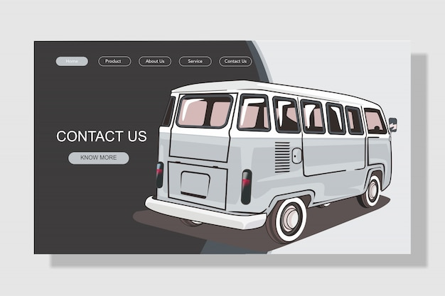 Página de destino de carro moderno e simples