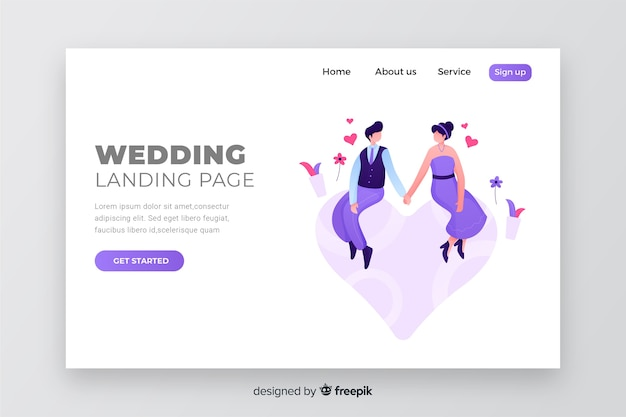 Página de destino de casamento casal colorido