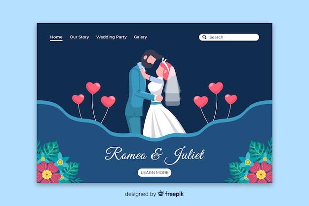 Página de destino de casamento de casal plana