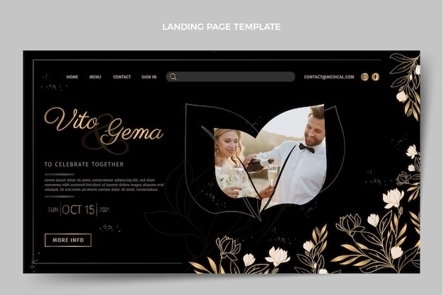 Página de destino de casamento de ouro de luxo realista