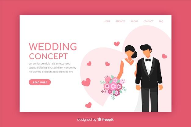 Página de destino de casamento design plano
