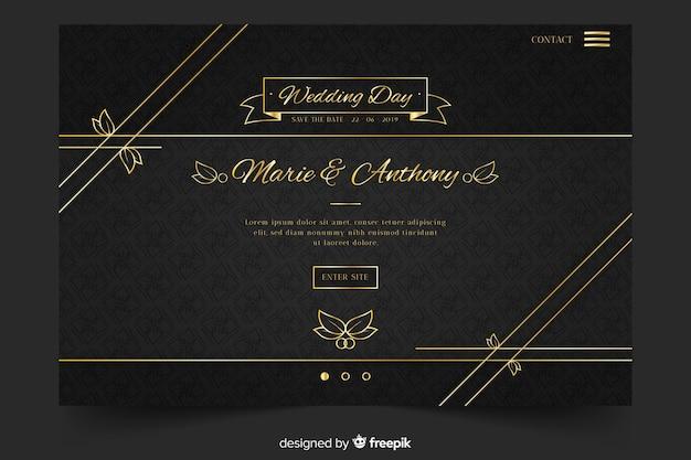 Página de destino de casamento dourada e preta