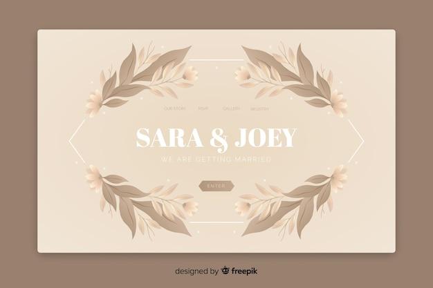 Página de destino de casamento elegante com folhas