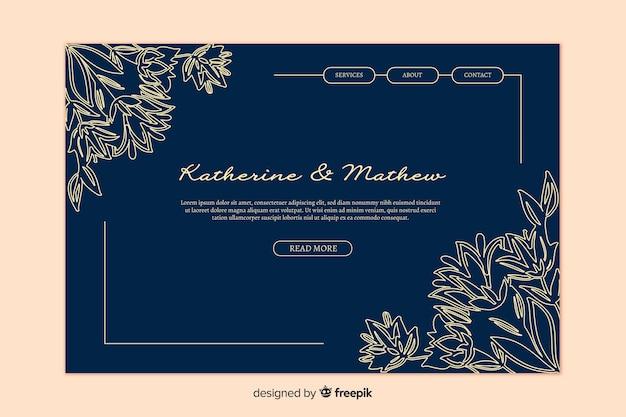 Página de destino de casamento elegante dourado