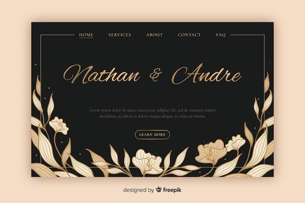 Página de destino de casamento elegante