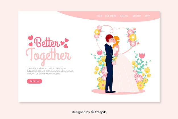 Página de destino de casamento melhor juntos