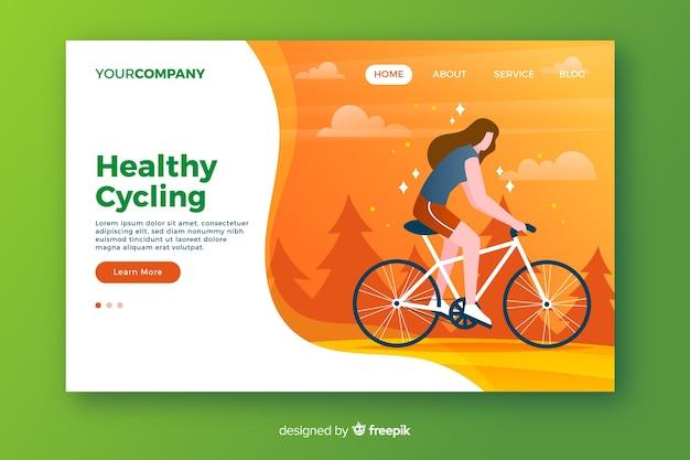 Página de destino de ciclismo saudável