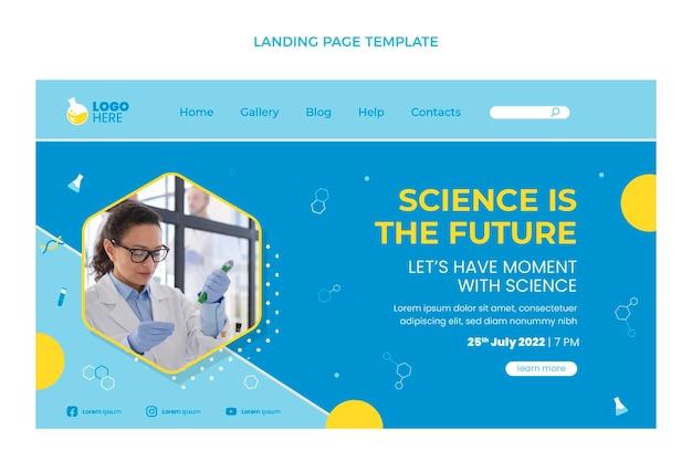 Página de destino de ciência de design plano