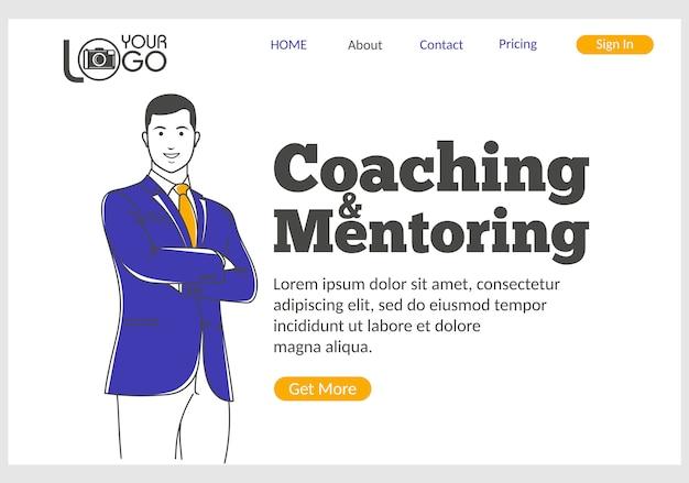 Página de destino de coaching e mentoring