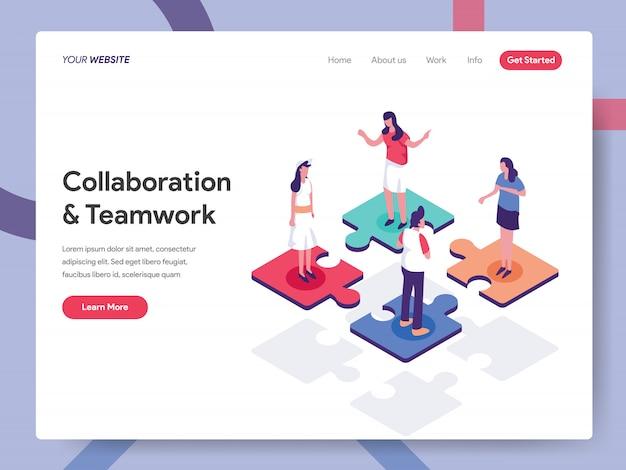 Página de destino de colaboração e trabalho em equipe