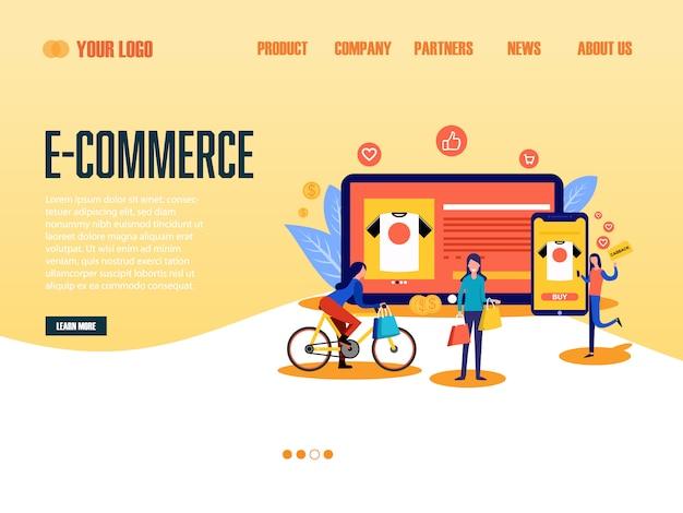 Página de destino de comércio eletrônico