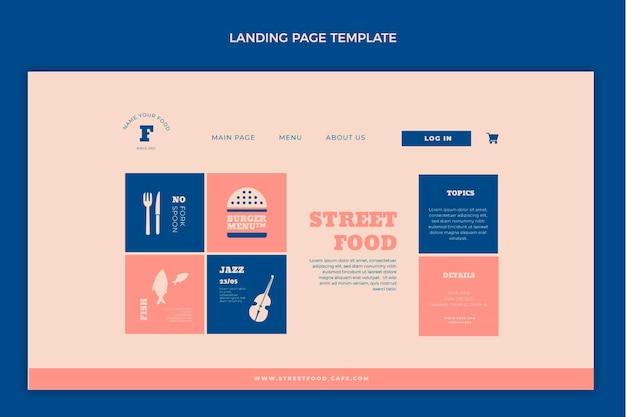 Página de destino de comida de rua plana