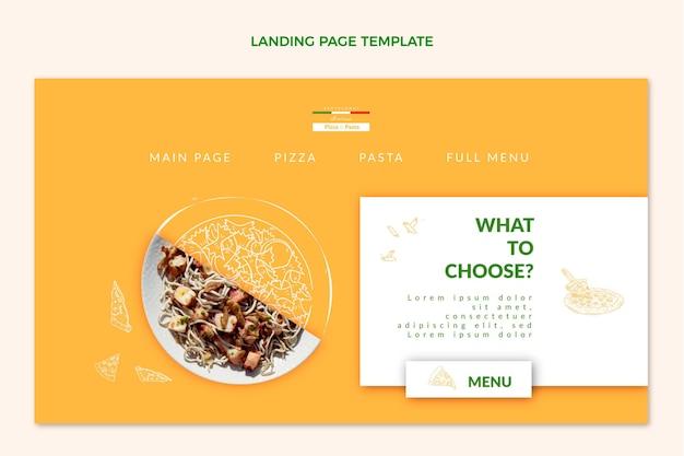 Página de destino de comida realista