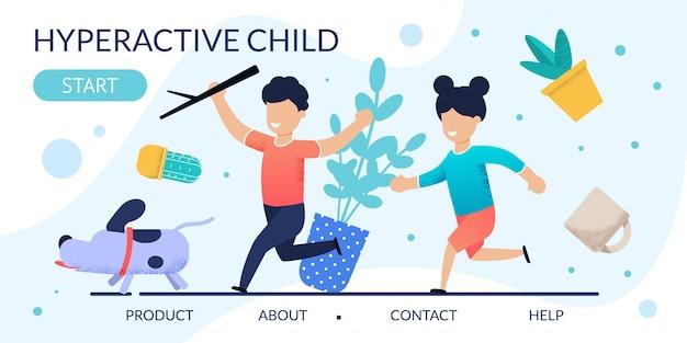 Página de destino de comportamento problemático de crianças hiperativas