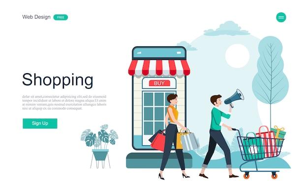 Página de destino de compras e serviços on-line