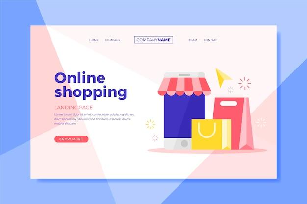 Página de destino de compras em sacolas e lojas