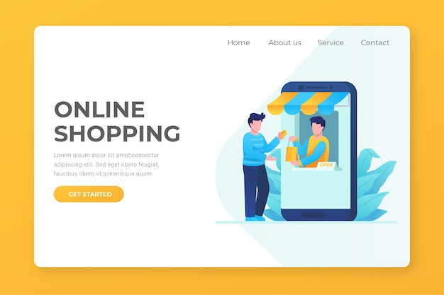 Página de destino de compras on-line de design plano com caracteres