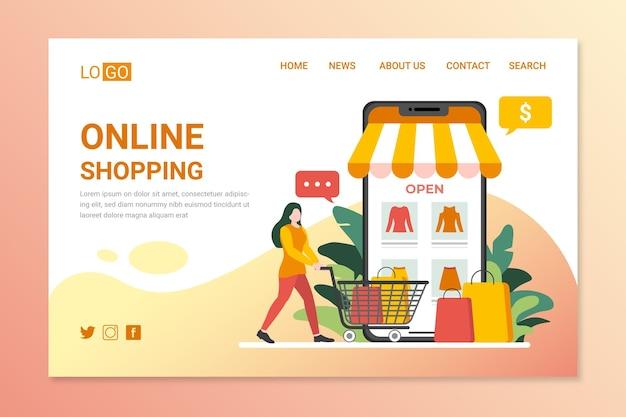 Página de destino de compras on-line de design plano