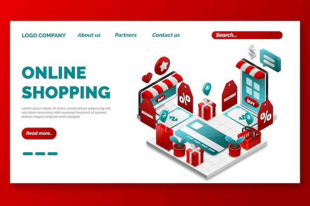 Página de destino de compras on-line isométrica tempalte