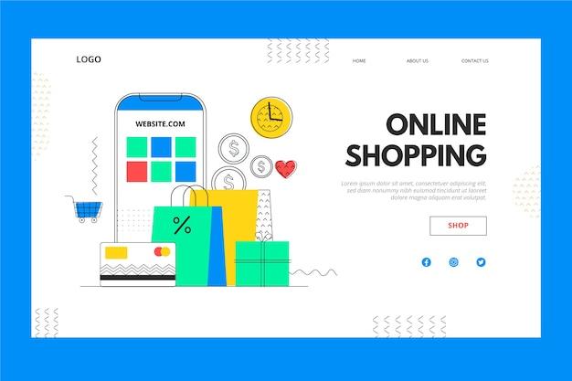Página de destino de compras on-line para celular e caixa