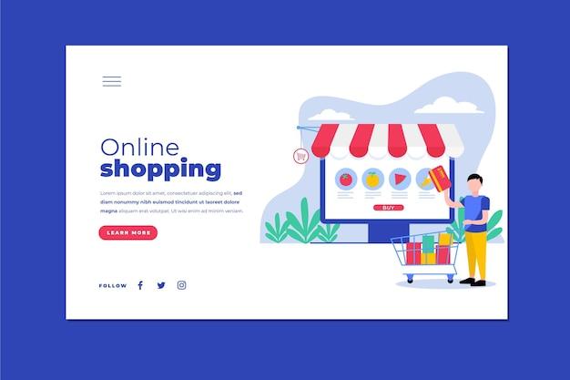 Página de destino de compras on-line plana ilustrada