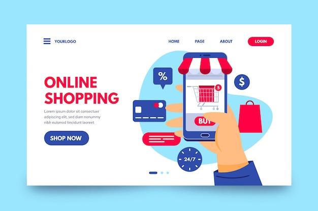 Página de destino de compras on-line plana