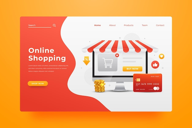 Página de destino de compras on-line realista