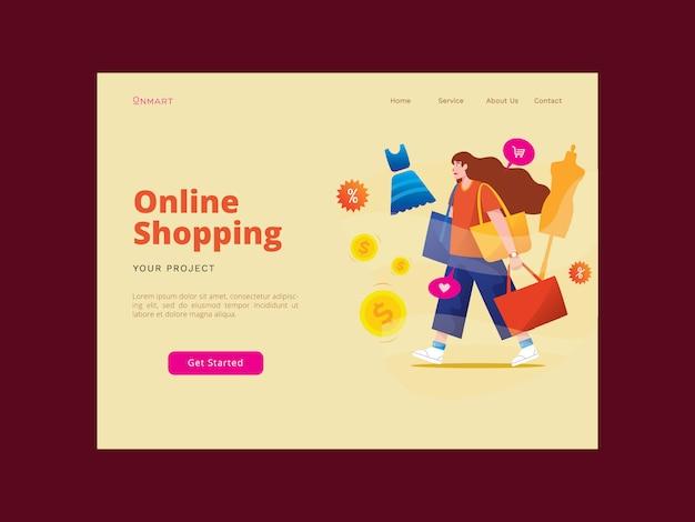 Página de destino de compras on-line
