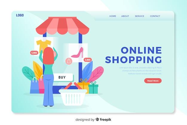 Página de destino de conceito de compras on-line