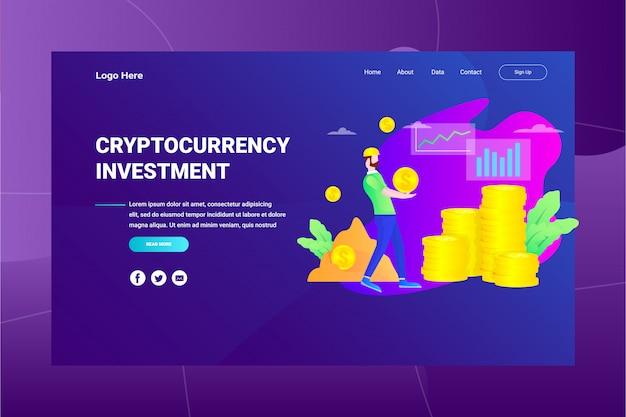 Página de destino de conceito de ilustração de investimento cryptocurrency de cabeçalho de página da web