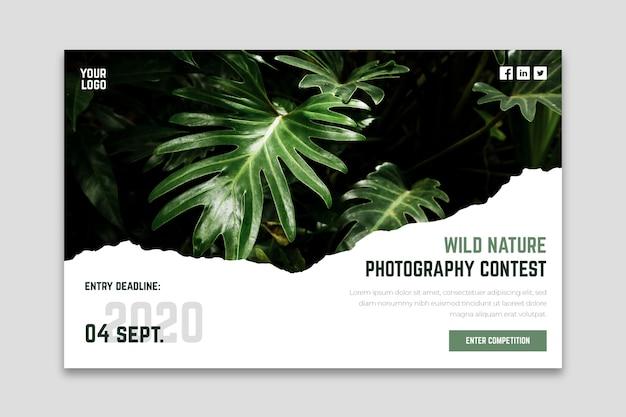 Página de destino de concurso de fotografia de natureza selvagem