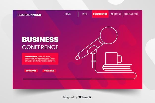 Página de destino de conferência de negócios abstrata