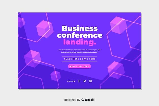 Página de destino de conferência de negócios de formas abstratas plana