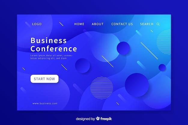 Página de destino de conferência de negócios de formas líquidas