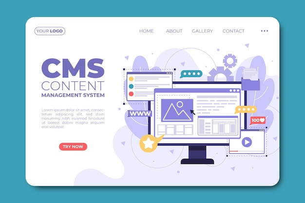 Página de destino de conteúdo cms simples