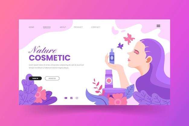 Página de destino de cosméticos da natureza