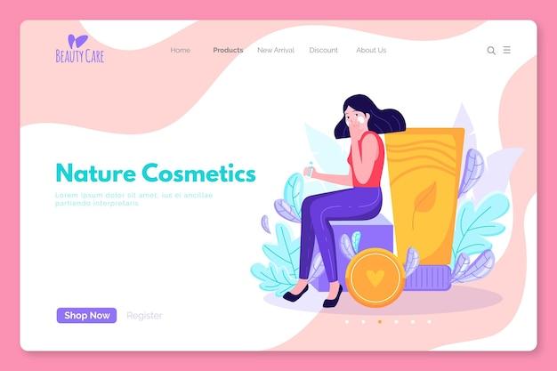 Página de destino de cosméticos de natureza com mulher