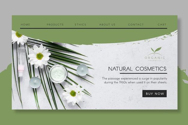 Página de destino de cosméticos naturais