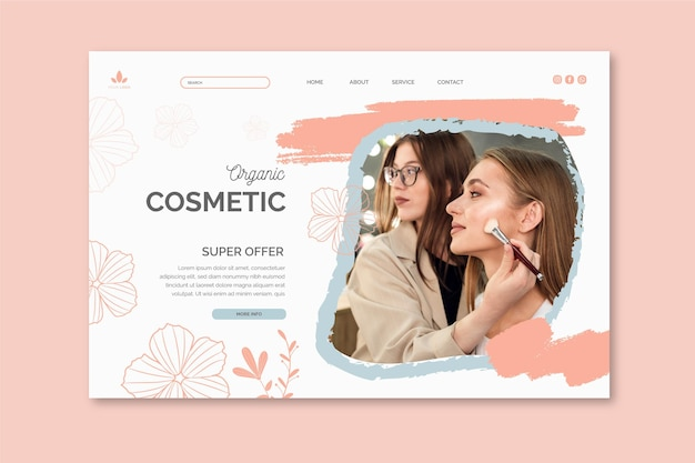 Página de destino de cosméticos orgânicos